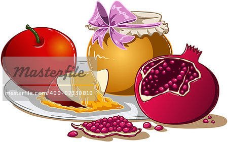 Vector illustration of honey apple and pomegranate on a plate for Rosh Hashanah the Jewish new year. Stock Photo - Budget Royalty-Free, Image code: 400-07330810