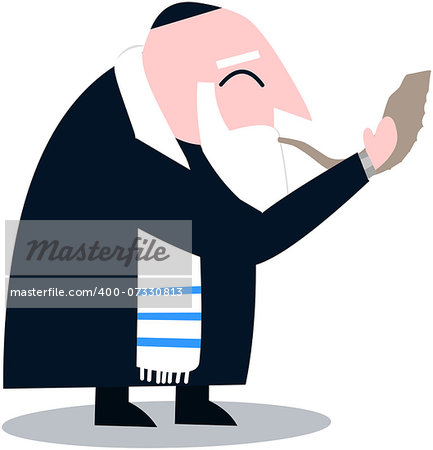 Vector illustration of a Rabbi with Talit blows the shofar the Jewish holiday Yom Kippur. Stock Photo - Budget Royalty-Free, Image code: 400-07330813