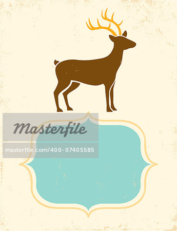Retro poster with silhouette deer Stock Photo - Budget Royalty-Free, Image code: 400-07405585