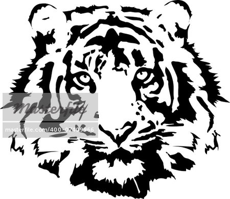 black tiger head in vrctorial format Stock Photo - Budget Royalty-Free, Image code: 400-07409966