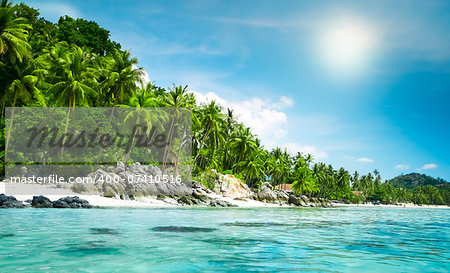 landscape of tropical island beach with perfect sky Stock Photo - Budget Royalty-Free, Image code: 400-07410516