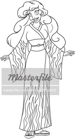 Vector illustration coloring page of an african woman in traditional japanese kimono. Stock Photo - Budget Royalty-Free, Image code: 400-07421455