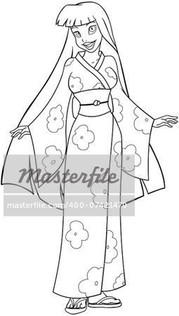 Vector illustration coloring page of an asian woman in traditional japanese kimono. Stock Photo - Budget Royalty-Free, Image code: 400-07421470