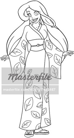 Vector illustration coloring page of a caucasian woman in traditional japanese kimono. Stock Photo - Budget Royalty-Free, Image code: 400-07421487