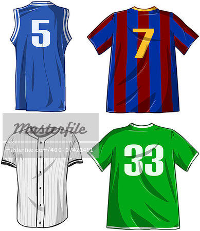 Vector illustrations pack of various sports shirts. Stock Photo - Budget Royalty-Free, Image code: 400-07421491