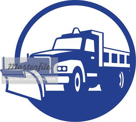 Illustration of a snow plow truck set inside circle on isolated background done in retro style. Stock Photo - Budget Royalty-Free, Image code: 400-07422669