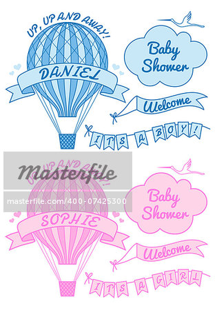 hot air ballon, it's a girl or boy, baby shower, set of vector design elements