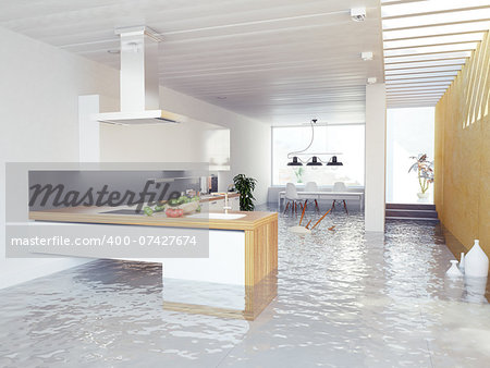 flooding kitchen modern interior (3D concept) Stock Photo - Budget Royalty-Free, Image code: 400-07427674