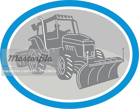 Illustration of a snow plow truck set inside oval on isolated background done in retro style. Stock Photo - Budget Royalty-Free, Image code: 400-07428636