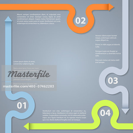 Infographic design with options descriptions and color arrows Stock Photo - Budget Royalty-Free, Image code: 400-07462283