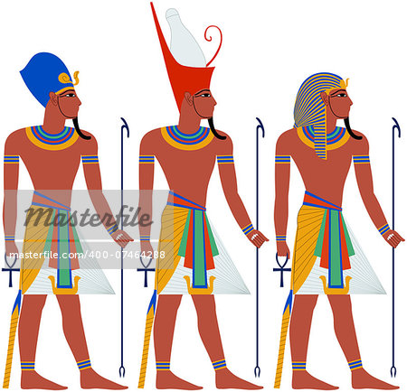 Vector illustration of ancient Egypt Pharaoh three pack. Stock Photo - Budget Royalty-Free, Image code: 400-07464288