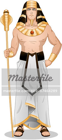 Vector illustration of Pharaoh holding a serpent staff. Stock Photo - Budget Royalty-Free, Image code: 400-07464289
