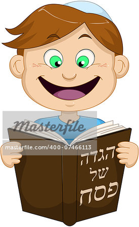 Vector illustration of a boy reading from Haggadah on Passover. Stock Photo - Budget Royalty-Free, Image code: 400-07466113