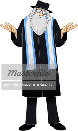 Vector illustration of a Rabbi saying I dont know. Stock Photo - Budget Royalty-Free, Image code: 400-07466117