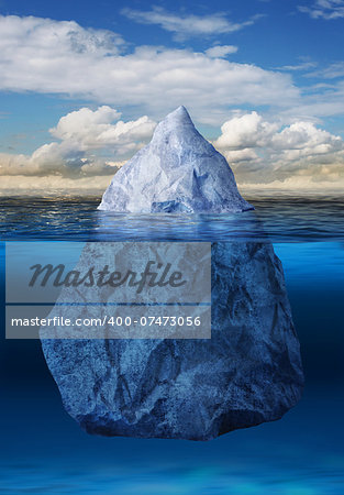 Iceberg floating in blue ocean, global warming concept Stock Photo - Budget Royalty-Free, Image code: 400-07473056
