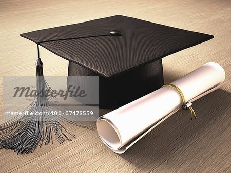 Graduation cap with diploma over the table. Clipping path included. Stock Photo - Budget Royalty-Free, Image code: 400-07478559