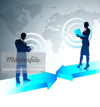 Businessman and Businesswoman on World Map Background Original Vector Illustration Stock Photo - Budget Royalty-Free, Image code: 400-07499504