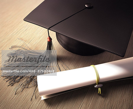 Graduation cap with diploma over the table. Clipping path included. Stock Photo - Budget Royalty-Free, Image code: 400-07502468