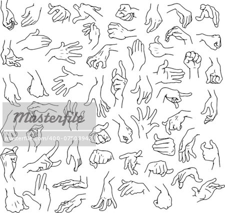 Vector illustration line art pack of man hands in various gestures. Stock Photo - Budget Royalty-Free, Image code: 400-07508942