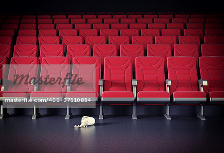 cinema interior and popcorn on the floor. cretive concept Stock Photo - Budget Royalty-Free, Image code: 400-07510884