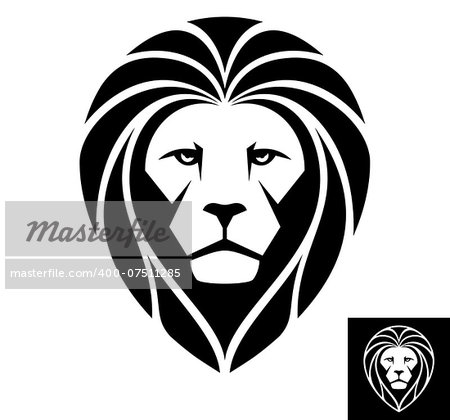 A Lion head logo in black and white. This is vector illustration ideal for a mascot and T-shirt graphic. Stock Photo - Budget Royalty-Free, Image code: 400-07511285