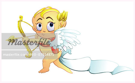 Precocious little Cherub baby spreading the message of love, with the baby's diaper stuck in the behind and waiving like a flag in the wind. A golden message in a humorous Valentines day greeting.      EPS10 graphic is scalable to any size. Stock Photo - Budget Royalty-Free, Image code: 400-07514871