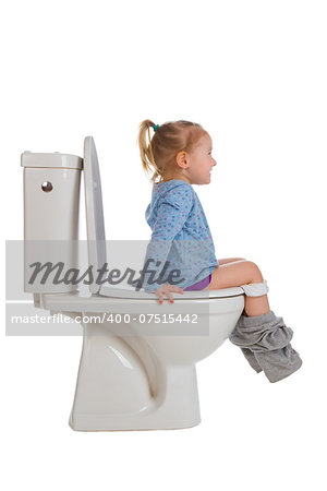 the little girl is sitting on toilet Stock Photo - Budget Royalty-Free, Image code: 400-07515442