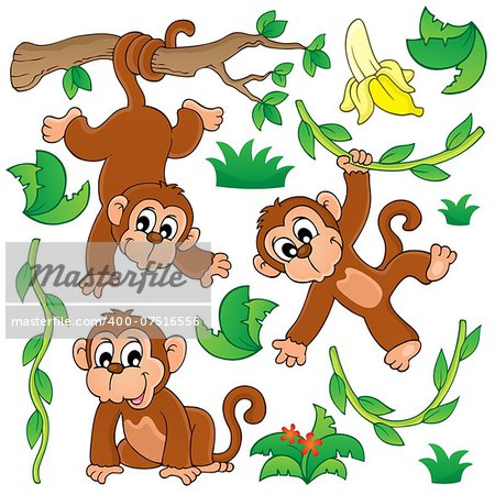 Monkey theme collection 1 - eps10 vector illustration. Stock Photo - Budget Royalty-Free, Image code: 400-07516556