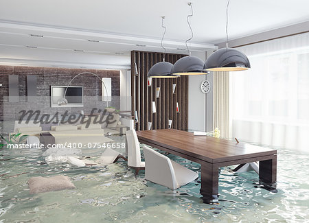 flooding in luxurious interior. 3d creative concept Stock Photo - Budget Royalty-Free, Image code: 400-07546658