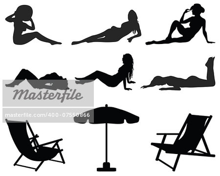 Black silhouettes of girls  on the beach, vector illustration Stock Photo - Budget Royalty-Free, Image code: 400-07550866
