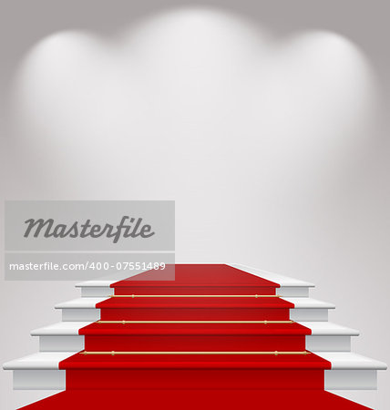 Illustration stairs covered with red carpet, scene illuminated - vector Stock Photo - Budget Royalty-Free, Image code: 400-07551489