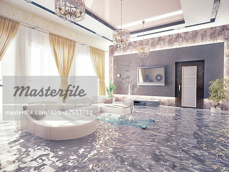 flooding in luxurious interior. 3d creative concept Stock Photo - Budget Royalty-Free, Image code: 400-07553732