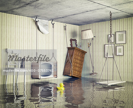 ordinary life in the flooded flat. 3d concept Stock Photo - Budget Royalty-Free, Image code: 400-07553741