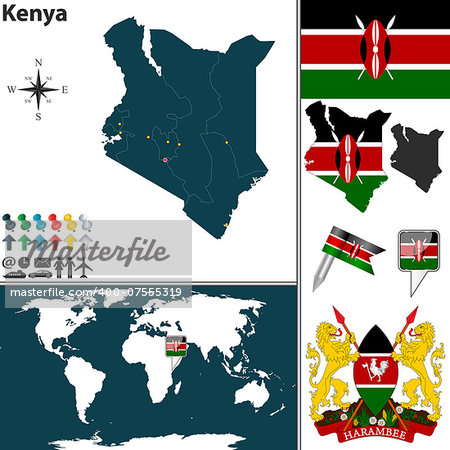 Vector of Kenya set with detailed country shape with region borders, flags and icons Stock Photo - Budget Royalty-Free, Image code: 400-07555319
