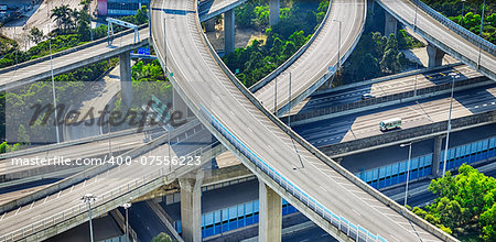 aerial view of the city overpass in early morning, Hon Kong,Asia China Stock Photo - Budget Royalty-Free, Image code: 400-07556223