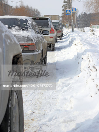 Snowy road surface from the back of unrecognizable car Stock Photo - Budget Royalty-Free, Image code: 400-07573770