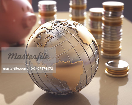 Planet Earth made â??â??of gold and silver on a concept of the business world. Stock Photo - Budget Royalty-Free, Image code: 400-07574972