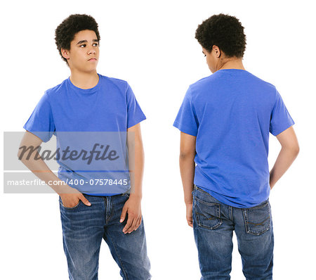 Young black male with blank blue t-shirt, front and back. Ready for your design or artwork. Stock Photo - Budget Royalty-Free, Image code: 400-07578445
