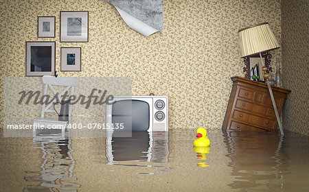 Flooded vintage interior. 3d concept Stock Photo - Budget Royalty-Free, Image code: 400-07615135