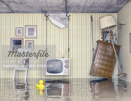 ordinary life in the flooded flat. 3d concept Stock Photo - Budget Royalty-Free, Image code: 400-07615136