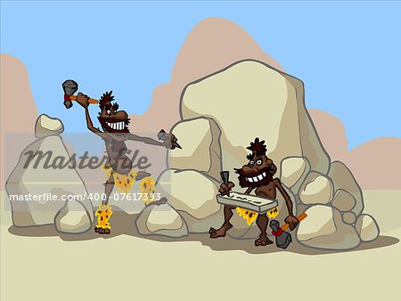 illustration of two funny cartoon cavemen working in a desert. Stock Photo - Budget Royalty-Free, Image code: 400-07617393