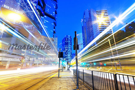 HongKong downtown traffic light trails Stock Photo - Budget Royalty-Free, Image code: 400-07620762