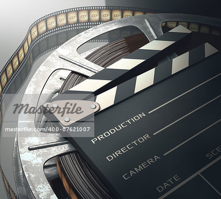 Clapperboard with rolls of film in the retro concept cinema. Stock Photo - Budget Royalty-Free, Image code: 400-07621007