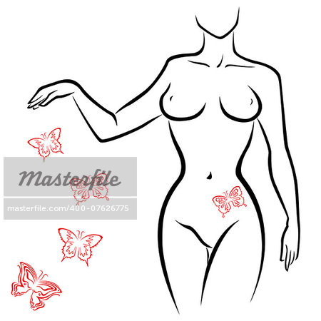 Abstract outline of a sexy woman body with red butterflies, hand drawing sketching vector artwork Stock Photo - Budget Royalty-Free, Image code: 400-07626775