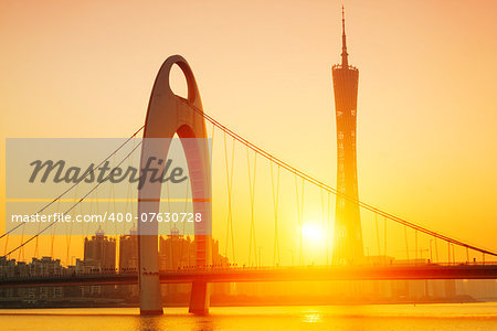 Zhujiang River and modern building of financial district in guangzhou china. Stock Photo - Budget Royalty-Free, Image code: 400-07630728
