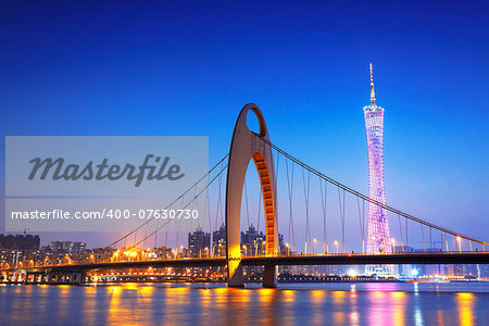 Zhujiang River and modern building of financial district in guangzhou china. Stock Photo - Budget Royalty-Free, Image code: 400-07630730