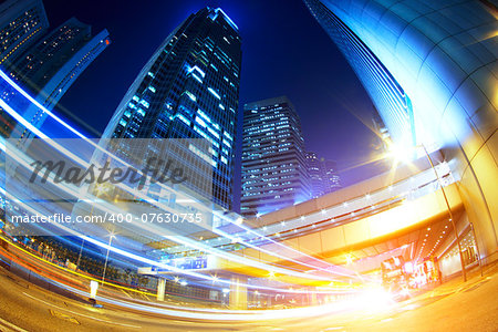 hong kong modern city High speed traffic and blurred light trails Stock Photo - Budget Royalty-Free, Image code: 400-07630735