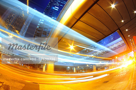 hong kong modern city High speed traffic and blurred light trails Stock Photo - Budget Royalty-Free, Image code: 400-07630736