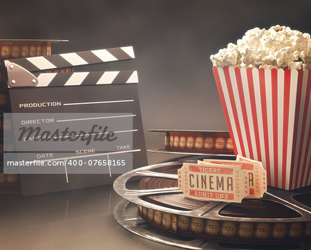 Objects related to the cinema on reflective surface. Stock Photo - Budget Royalty-Free, Image code: 400-07658165