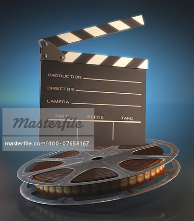 Clapperboard and roll of film in the retro concept cinema. Stock Photo - Budget Royalty-Free, Image code: 400-07658167